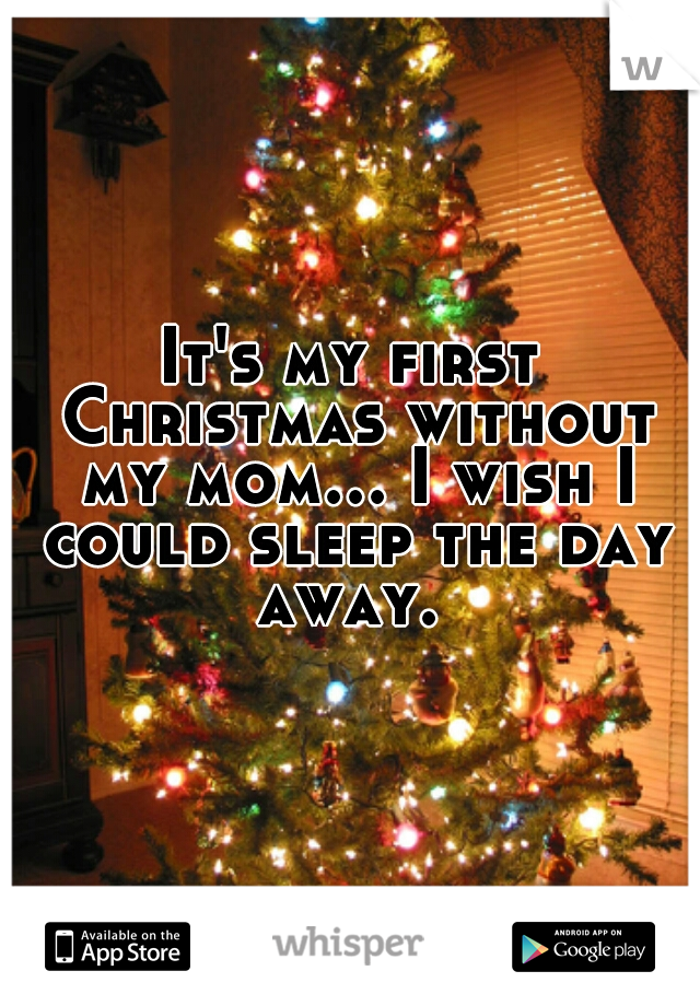 It's my first Christmas without my mom... I wish I could sleep the day away.