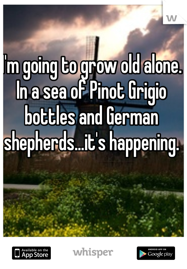 I'm going to grow old alone. In a sea of Pinot Grigio bottles and German shepherds...it's happening.
