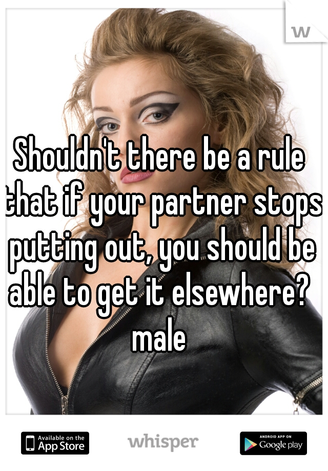 Shouldn't there be a rule that if your partner stops putting out, you should be able to get it elsewhere?  male