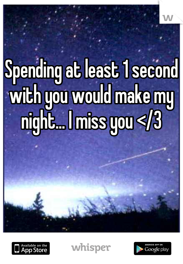 Spending at least 1 second  with you would make my night... I miss you </3