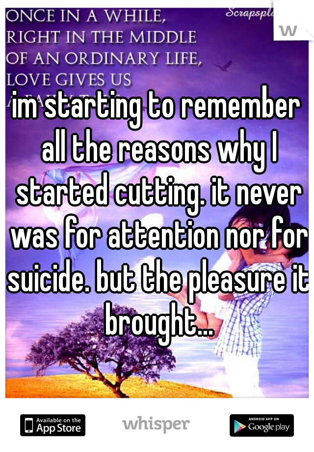 im starting to remember all the reasons why I started cutting. it never was for attention nor for suicide. but the pleasure it brought...