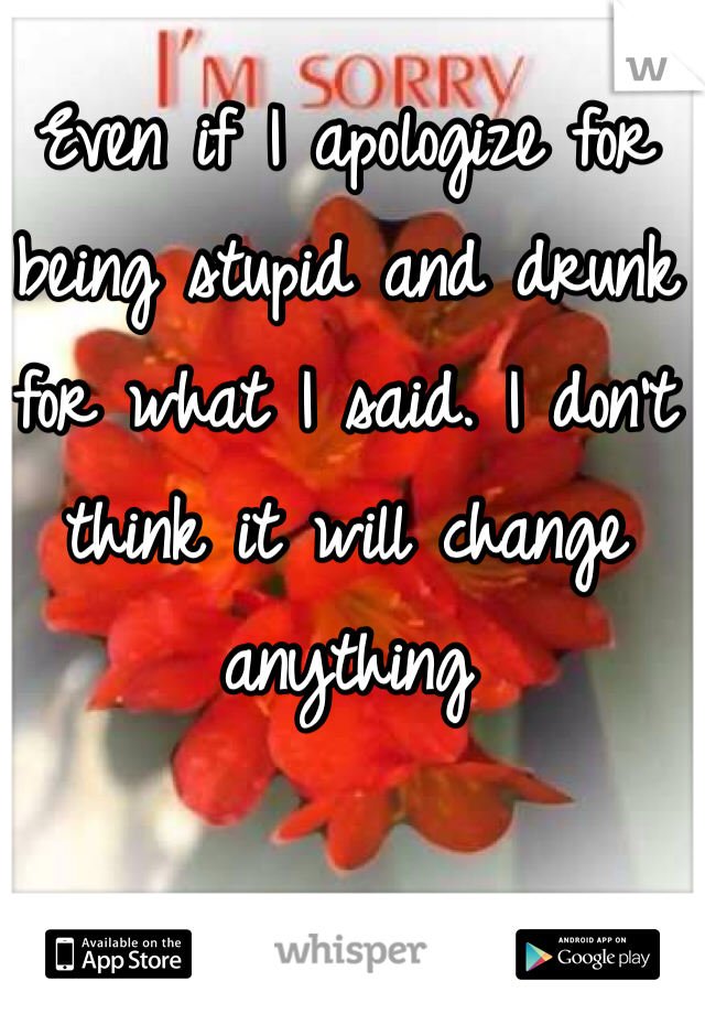 Even if I apologize for being stupid and drunk for what I said. I don't think it will change anything