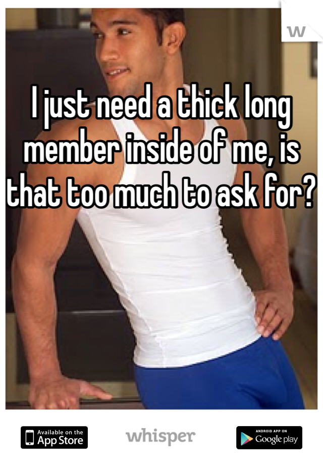 I just need a thick long member inside of me, is that too much to ask for?