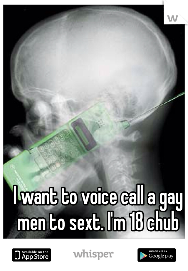 I want to voice call a gay men to sext. I'm 18 chub