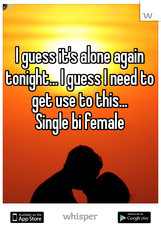 I guess it's alone again tonight... I guess I need to get use to this... Single bi female