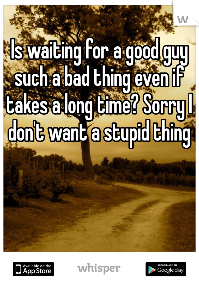 Is waiting for a good guy such a bad thing even if takes a long time? Sorry I don't want a stupid thing