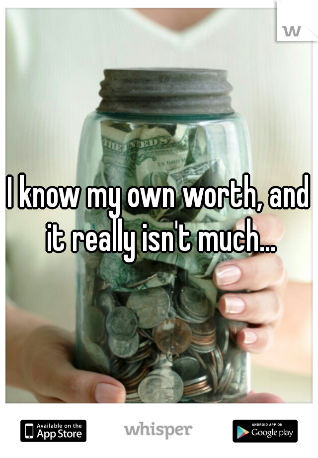 I know my own worth, and it really isn't much...
