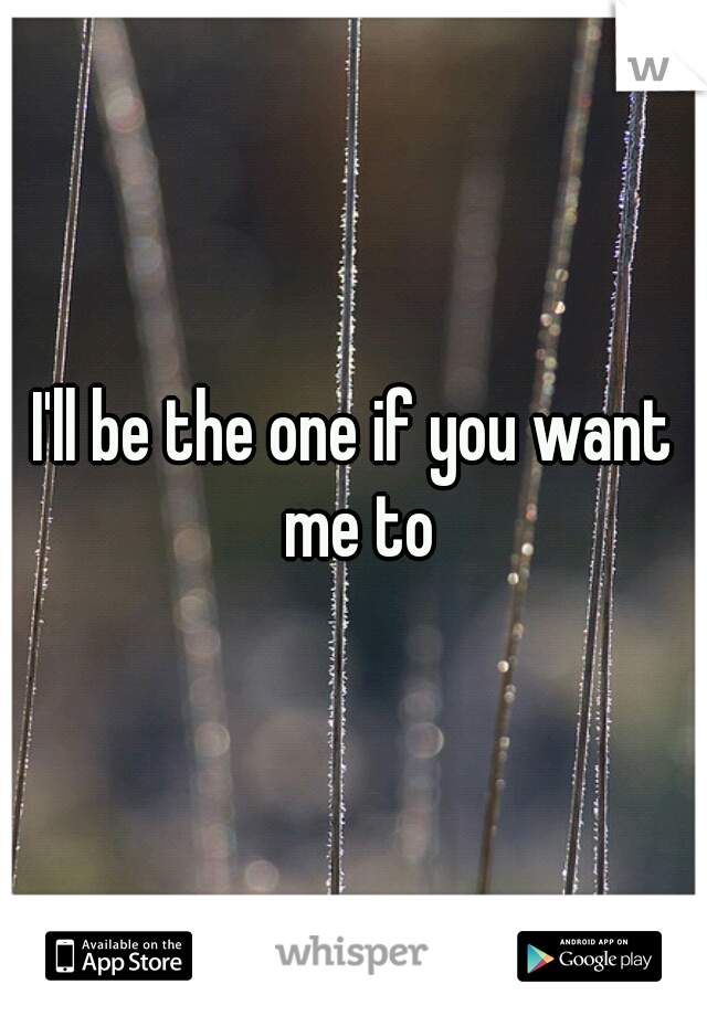 I'll be the one if you want me to