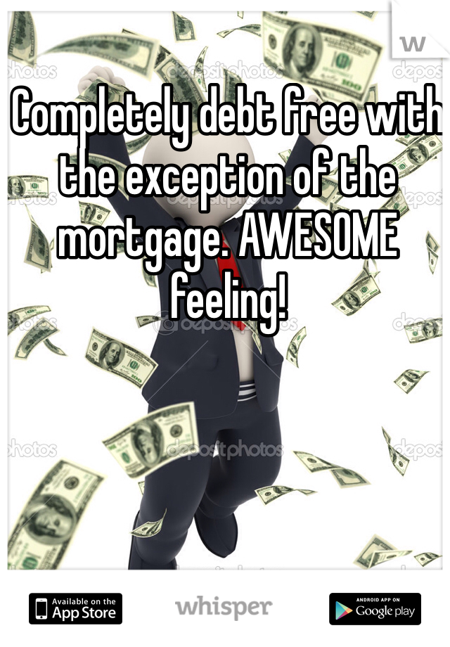 Completely debt free with the exception of the mortgage. AWESOME feeling!