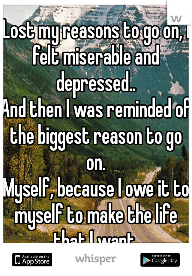 Lost my reasons to go on, I felt miserable and depressed..  And then I was reminded of the biggest reason to go on.  Myself, because I owe it to myself to make the life that I want.