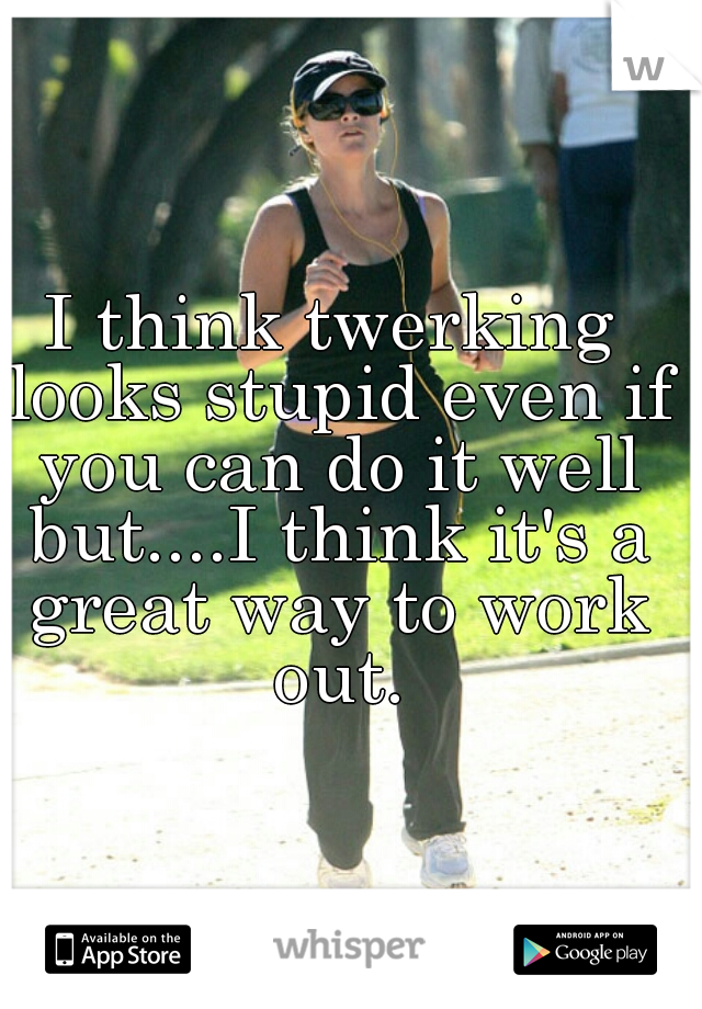 I think twerking looks stupid even if you can do it well but....I think it's a great way to work out.
