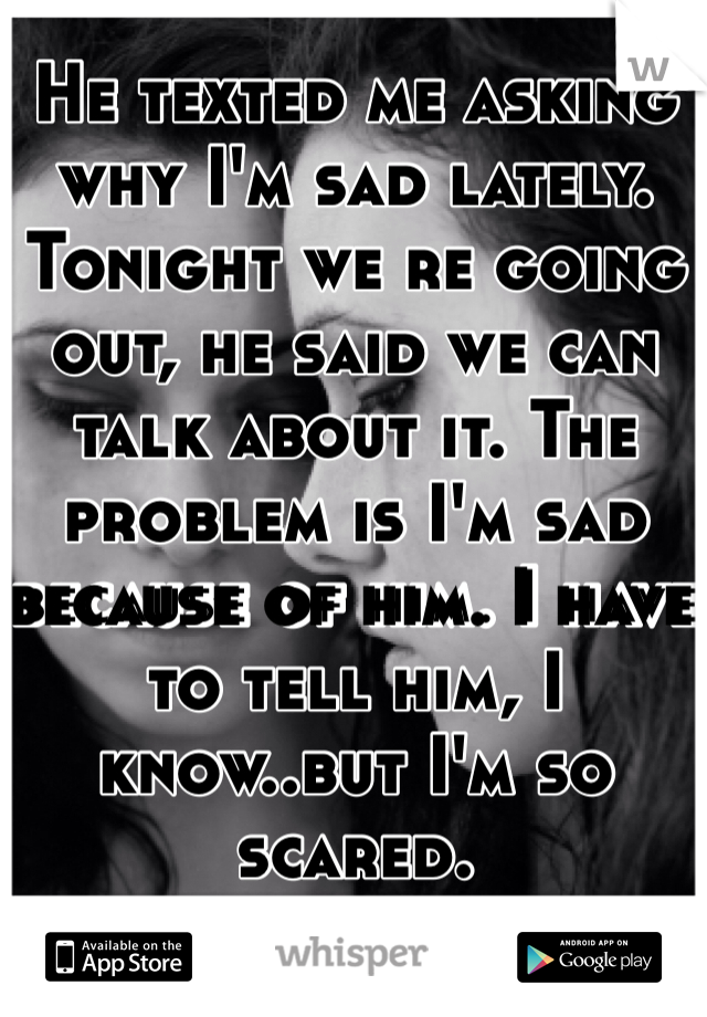 He texted me asking why I'm sad lately. Tonight we re going out, he said we can talk about it. The problem is I'm sad because of him. I have to tell him, I know..but I'm so scared.