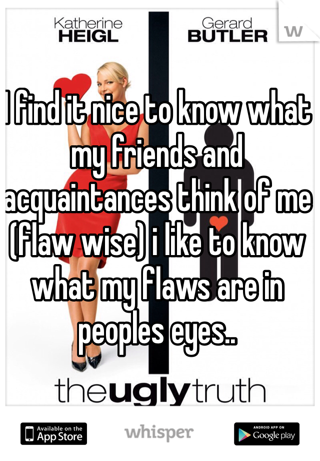 I find it nice to know what my friends and acquaintances think of me (flaw wise) i like to know what my flaws are in peoples eyes..