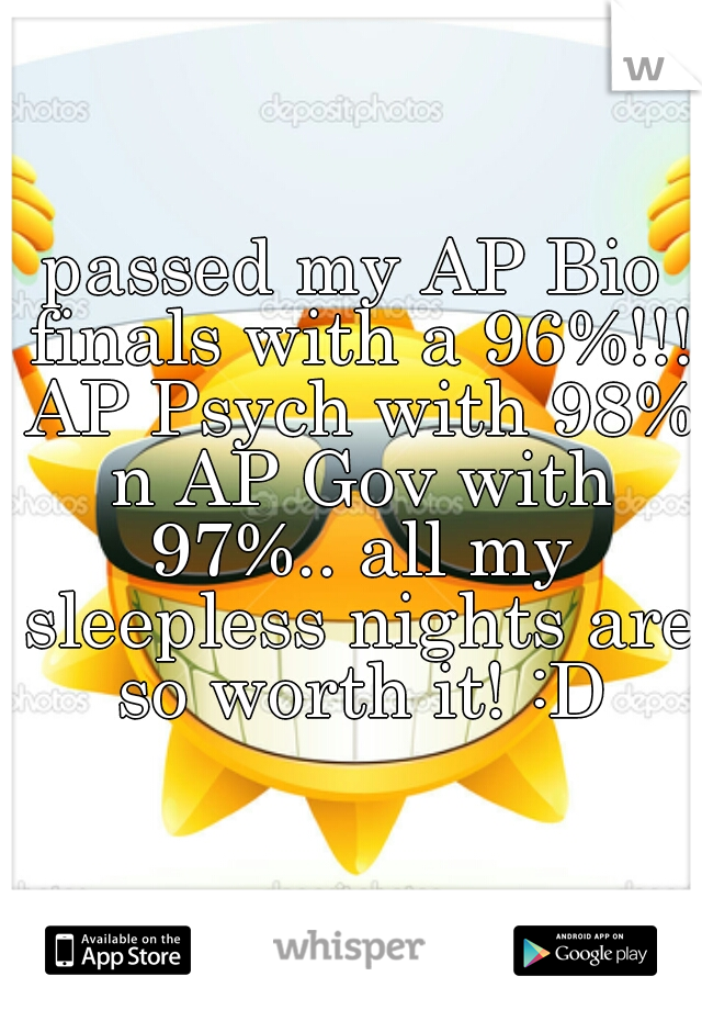 passed my AP Bio finals with a 96%!!! AP Psych with 98% n AP Gov with 97%.. all my sleepless nights are so worth it! :D