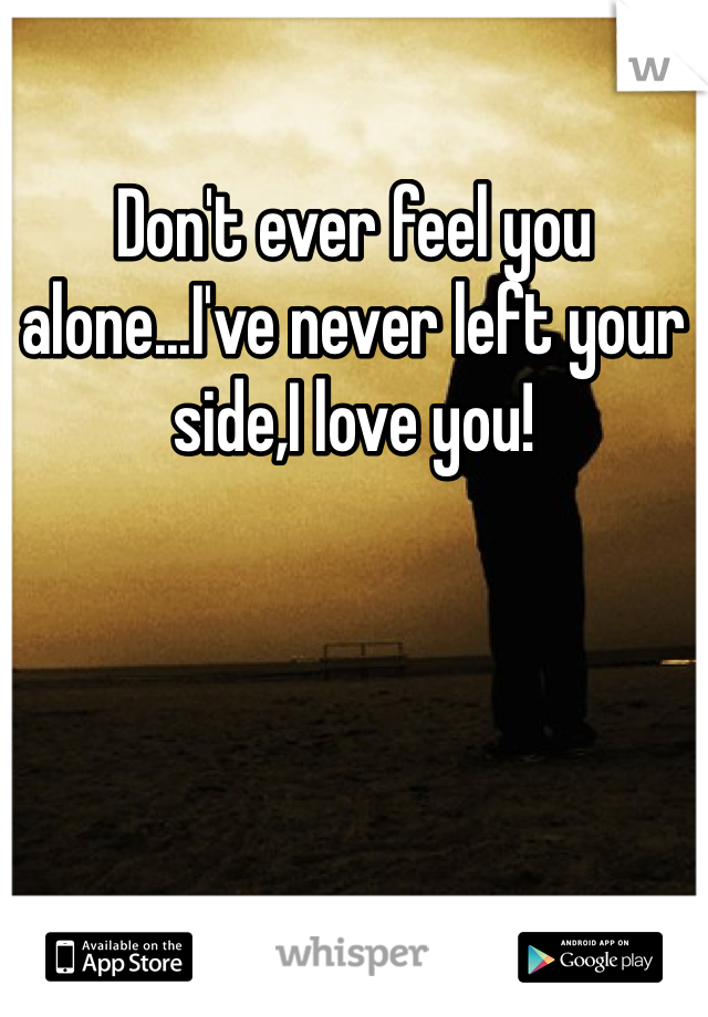 Don't ever feel you alone...I've never left your side,I love you!