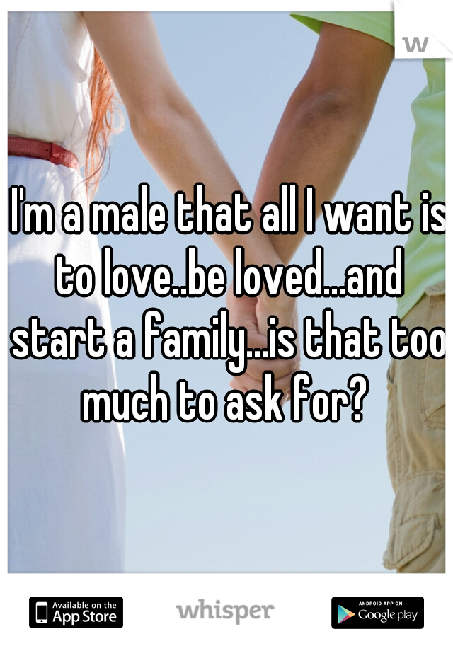 I'm a male that all I want is to love..be loved...and start a family...is that too much to ask for?