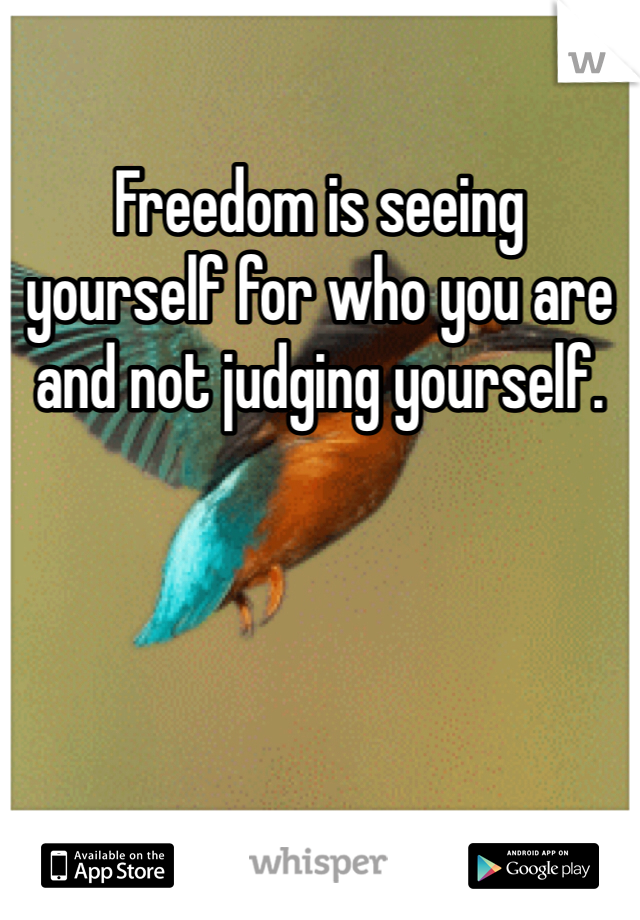 Freedom is seeing yourself for who you are and not judging yourself.