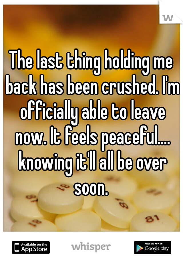 The last thing holding me back has been crushed. I'm officially able to leave now. It feels peaceful.... knowing it'll all be over soon.