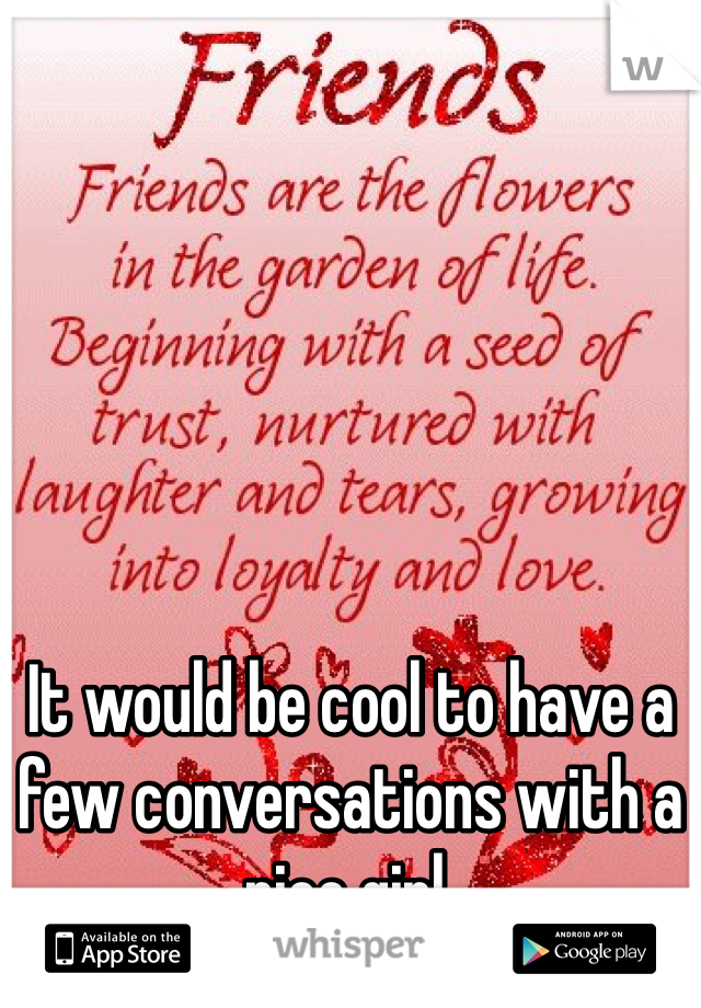 It would be cool to have a few conversations with a nice girl.