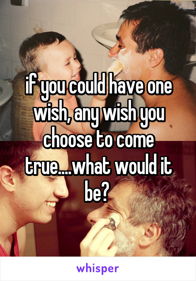 if you could have one wish, any wish you choose to come true....what would it be?
