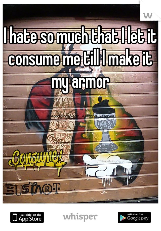 I hate so much that I let it consume me till I make it my armor