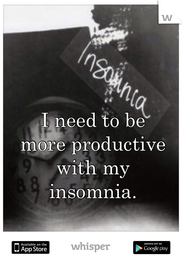 I need to be  more productive  with my  insomnia.