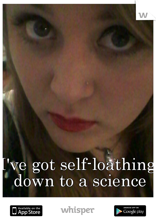 I've got self-loathing down to a science