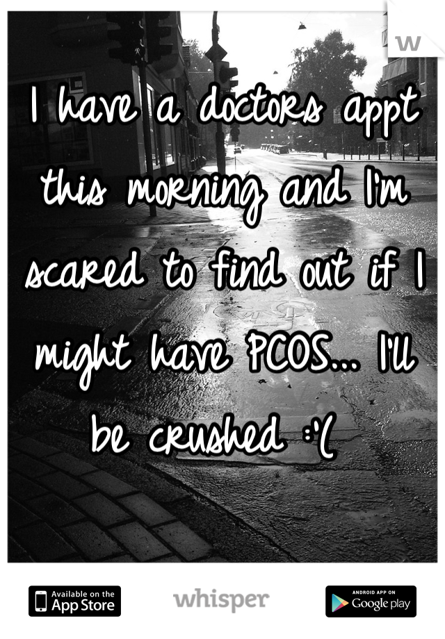 I have a doctors appt this morning and I'm scared to find out if I might have PCOS... I'll be crushed :'(