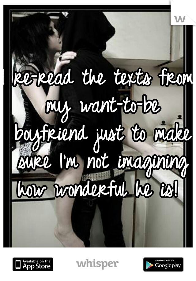 I re-read the texts from my want-to-be boyfriend just to make sure I'm not imagining how wonderful he is!