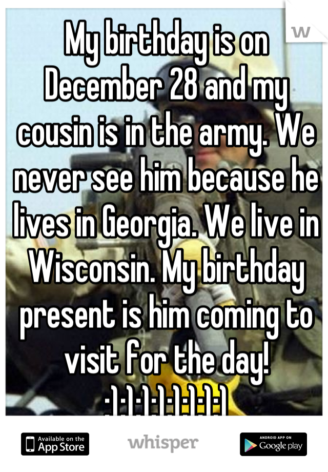 My birthday is on December 28 and my cousin is in the army. We never see him because he lives in Georgia. We live in Wisconsin. My birthday present is him coming to visit for the day! :):):):):):):):)