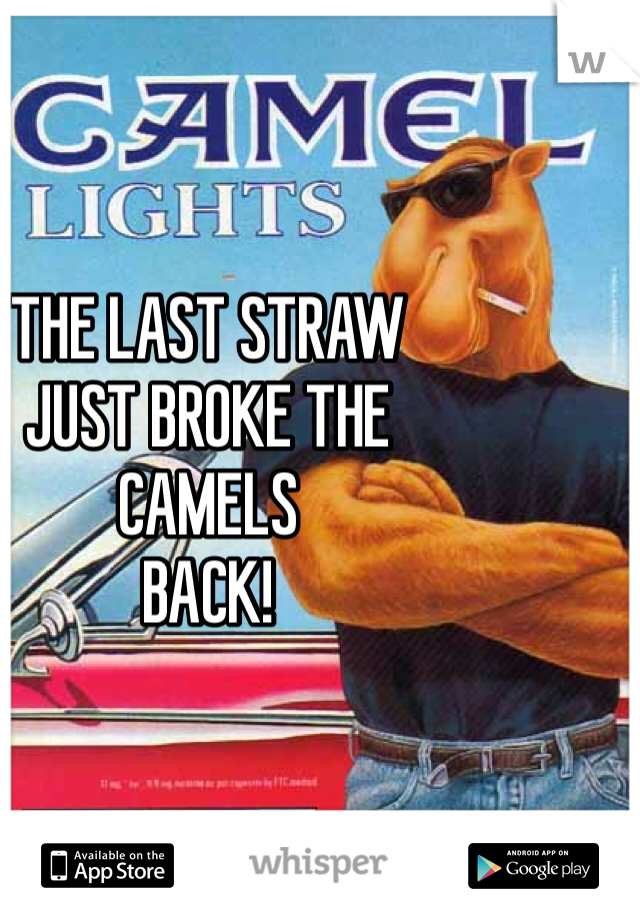 THE LAST STRAW JUST BROKE THE CAMELS  BACK!