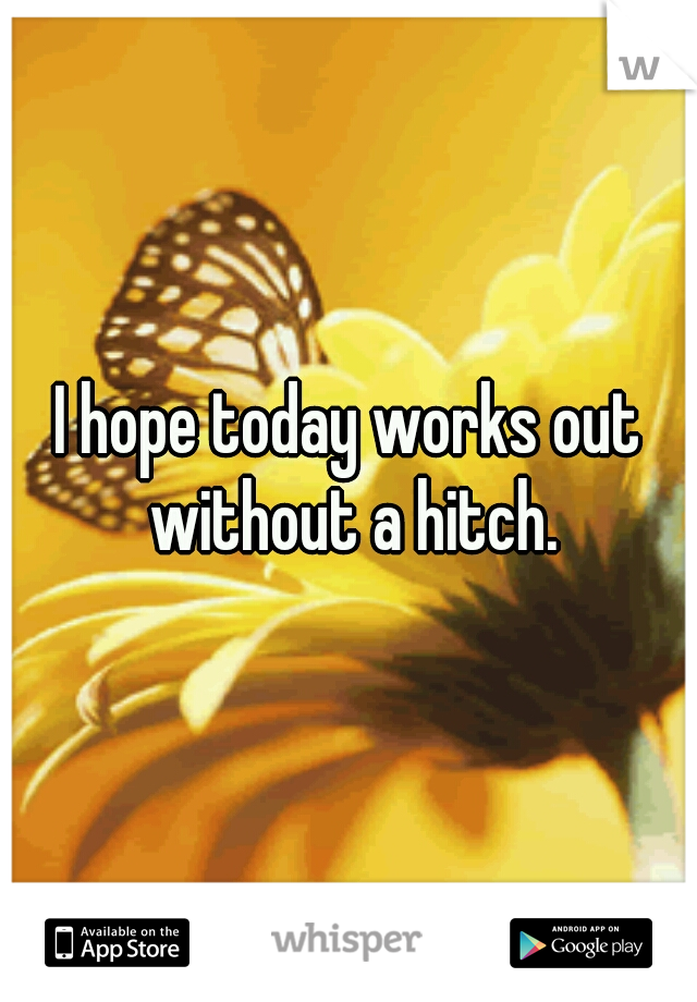 I hope today works out without a hitch.