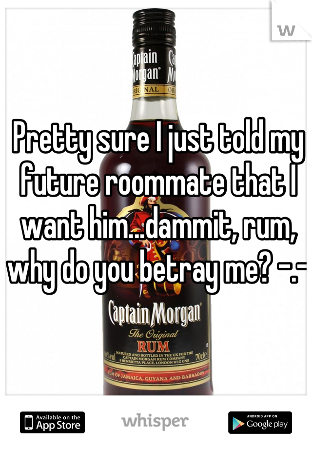 Pretty sure I just told my future roommate that I want him...dammit, rum, why do you betray me? -.-