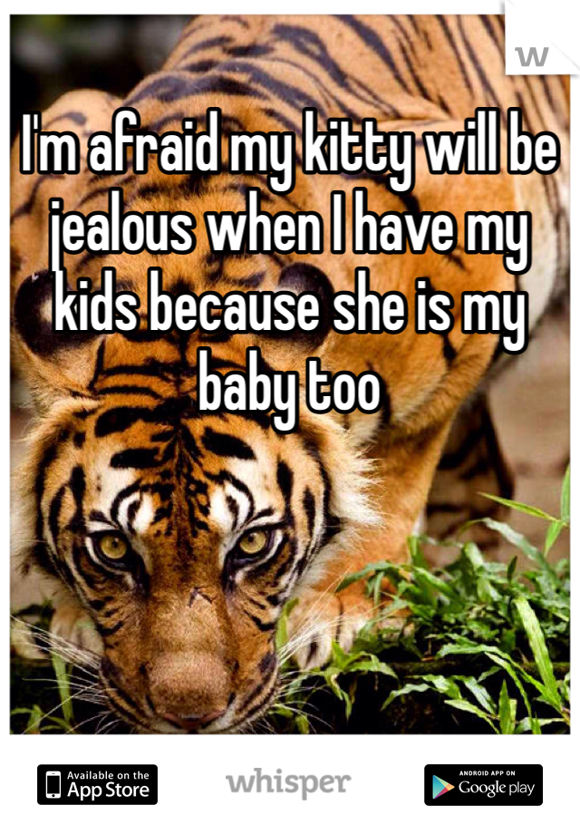 I'm afraid my kitty will be jealous when I have my kids because she is my baby too