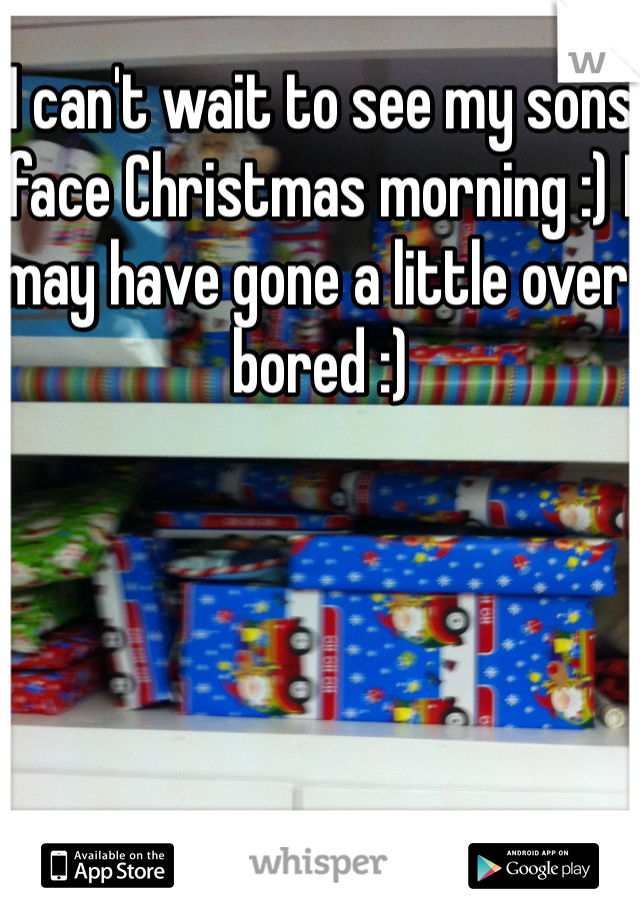 I can't wait to see my sons face Christmas morning :) I may have gone a little over bored :)