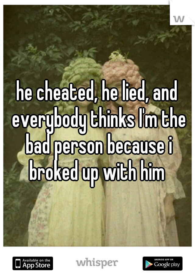 he cheated, he lied, and everybody thinks I'm the bad person because i broked up with him