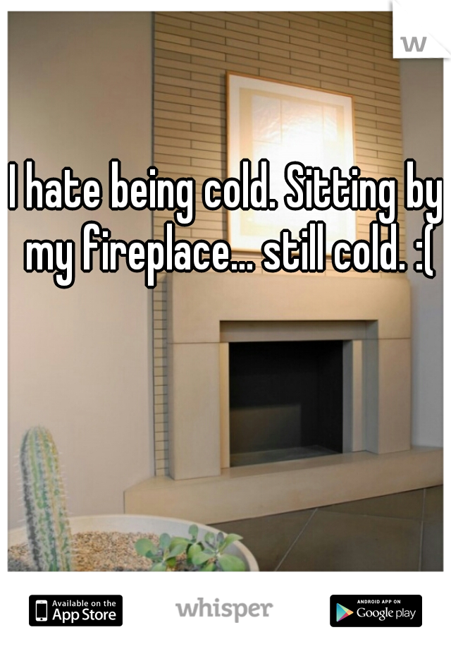 I hate being cold. Sitting by my fireplace... still cold. :(
