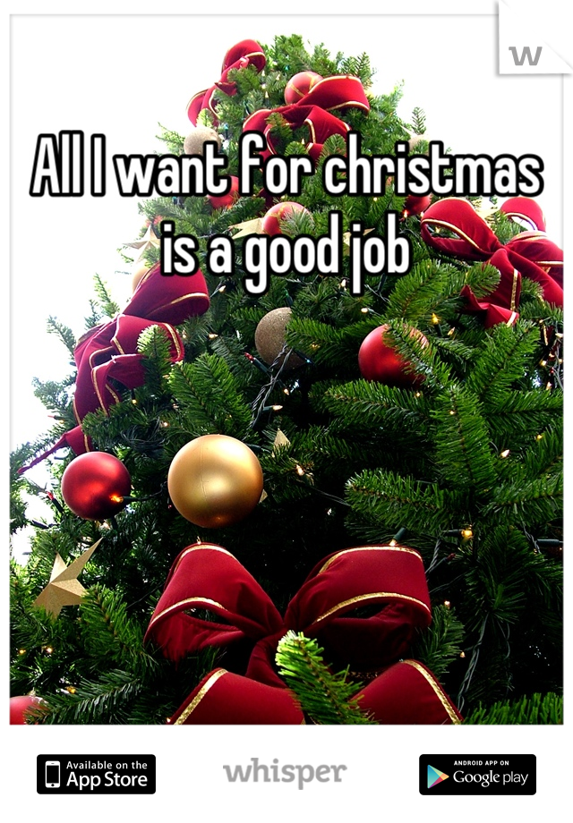 All I want for christmas is a good job