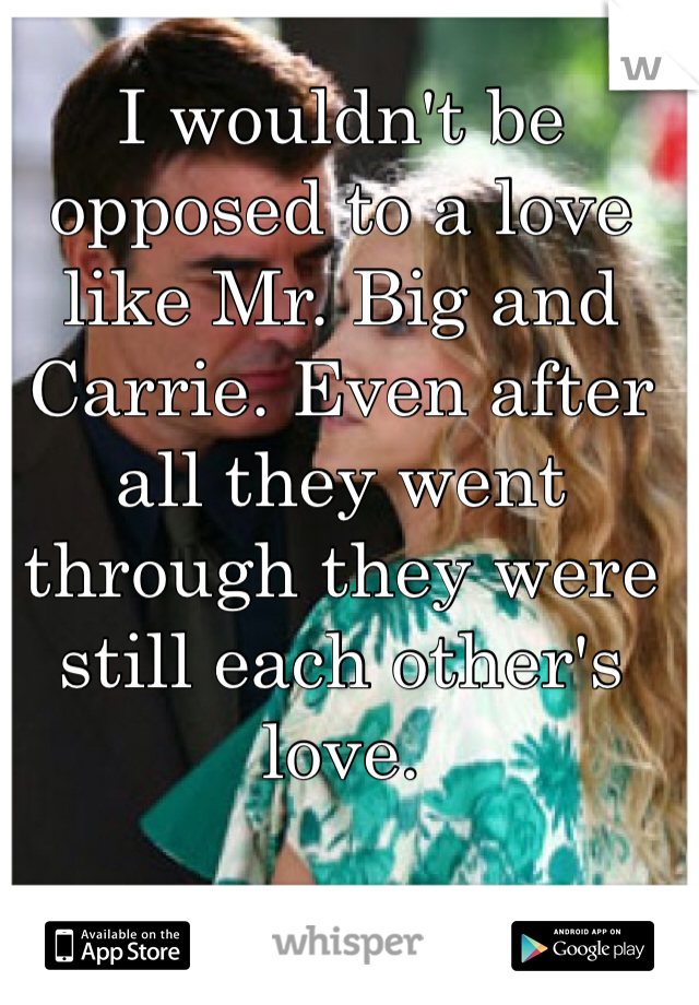 I wouldn't be opposed to a love like Mr. Big and Carrie. Even after all they went through they were still each other's love.