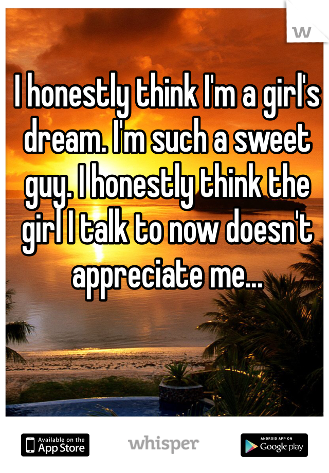 I honestly think I'm a girl's dream. I'm such a sweet guy. I honestly think the girl I talk to now doesn't appreciate me...