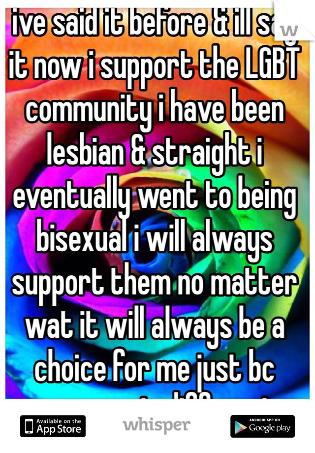 ive said it before & ill say it now i support the LGBT community i have been lesbian & straight i eventually went to being bisexual i will always support them no matter wat it will always be a choice for me just bc someone is different