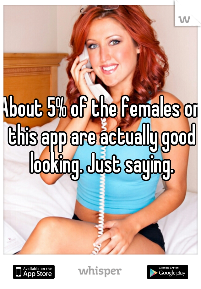 About 5% of the females on this app are actually good looking. Just saying.