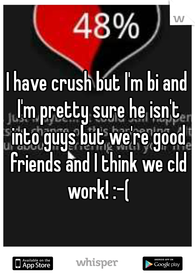 I have crush but I'm bi and I'm pretty sure he isn't into guys but we're good friends and I think we cld work! :-(