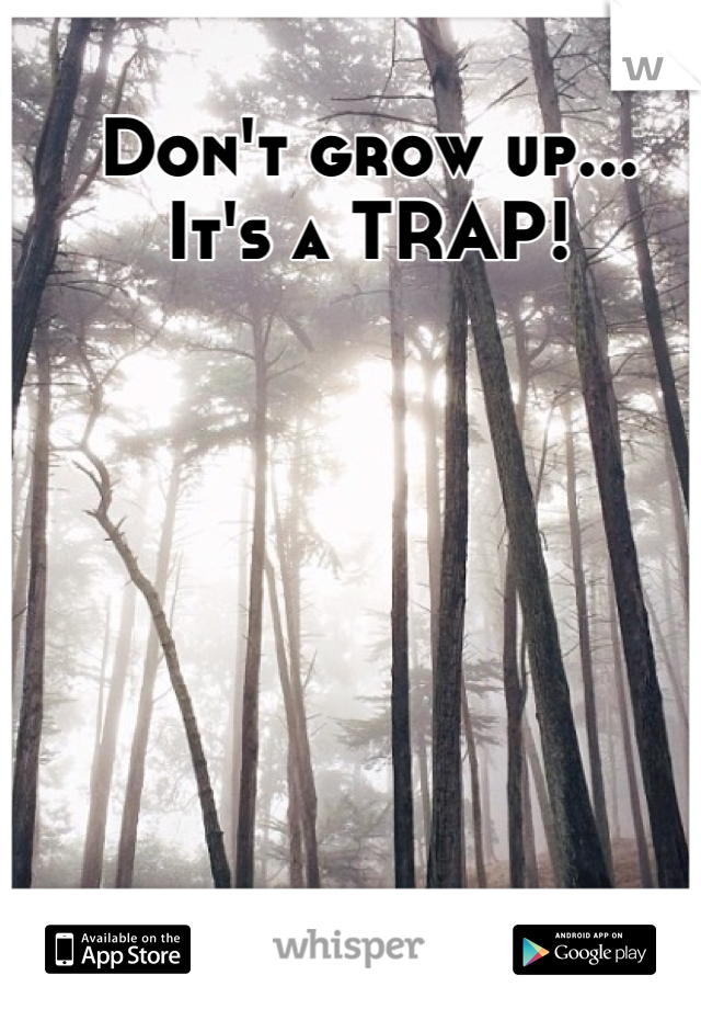 Don't grow up... It's a TRAP!