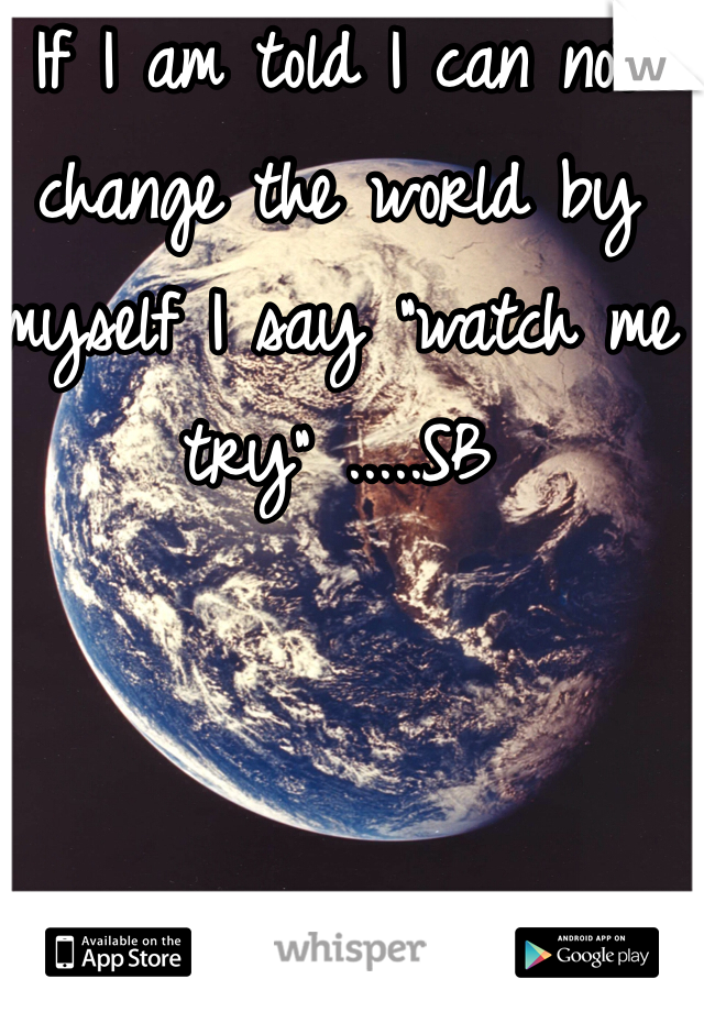 "If I am told I can not change the world by myself I say ""watch me try"" .....SB"