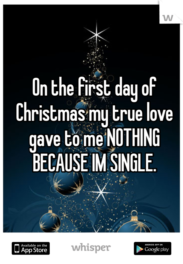 On the first day of Christmas my true love gave to me NOTHING BECAUSE IM SINGLE.
