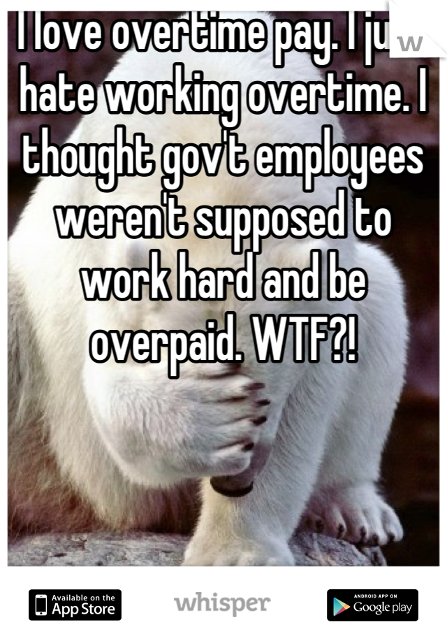 I love overtime pay. I just hate working overtime. I thought gov't employees weren't supposed to work hard and be overpaid. WTF?!