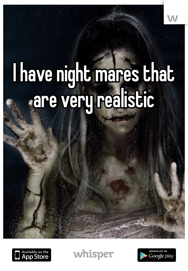 I have night mares that are very realistic