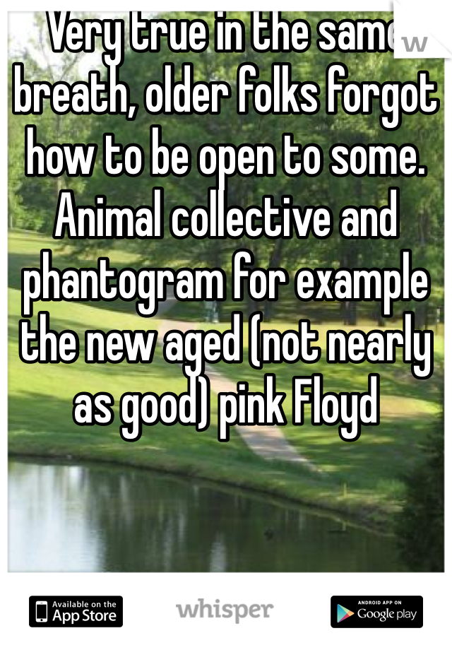 Very true in the same breath, older folks forgot how to be open to some. Animal collective and phantogram for example the new aged (not nearly as good) pink Floyd