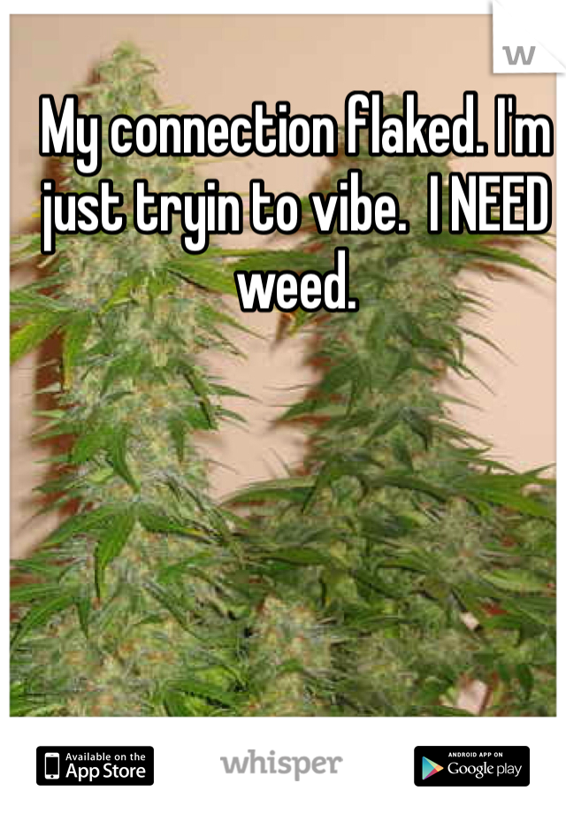 My connection flaked. I'm just tryin to vibe.  I NEED weed.